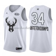 Milwaukee Bucks Giannis Antetokounmpo 34# Vit 2018 All Star Game NBA Basketlinne..